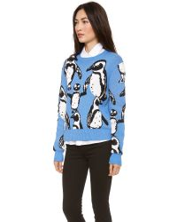 Elle Sasson Multicolor Lina Sweater Penguin Intarsia