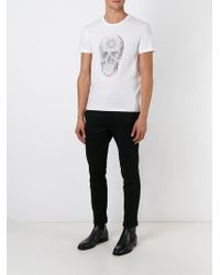 Alexander McQueen White Crystal Skull Print T-shirt for men