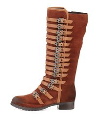 Luxury Rebel - Brown Leigh Burnished Suede Tall Boot - Lyst