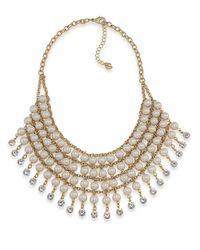 Carolee - Metallic Tea Cup Florals Pearl Crystal Bib Necklace - Lyst
