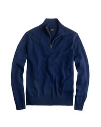 J.Crew Blue Merino Wool Half-Zip Sweater for men