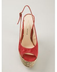 Paloma Barceló Red Chunky Heel Sandals