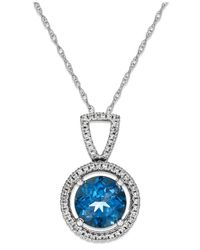 Macy's | London Blue Topaz (1-3/8 Ct. T.w.) And Diamond ( 1/10 Ct. T.w.) Necklace In Sterling Silver | Lyst