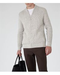 Reiss - Natural Denman Chunky Knit Cardigan for Men - Lyst
