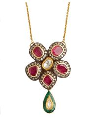 Amrapali - Red Diamond And Ruby Pendant Necklace - Lyst
