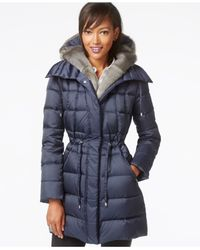 Laundry by Shelli Segal | Blue Hooded Faux-fur-trim Puffer Down Coat | Lyst