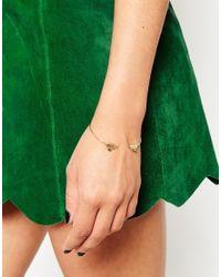 ASOS - Metallic Double Leaf Open Cuff Bracelet - Lyst
