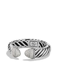 David Yurman - Metallic Waverly Cable Bracelet With Diamonds, 15mm - Lyst