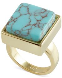French Connection | Blue Gold-Tone Semiprecious Square Stone Cocktail Ring | Lyst