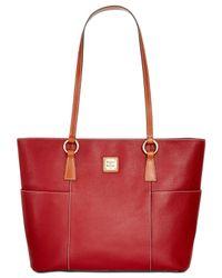 Dooney & Bourke - Red Pebbled Leather Shopper Bag - Lyst