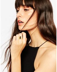ASOS - Metallic Gold Plated Sterling Silver Open Crystal Ring - Lyst