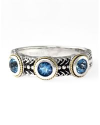 Lord & Taylor | Metallic Sterling Silver 18kt. Yellow Gold And Blue Topaz Ring | Lyst