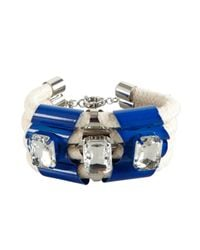 Noir Jewelry | Blue Metal And Rope With Crystals Cuff | Lyst