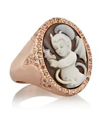Amedeo - Metallic Rose Gold-Plated, Sardonyx Shell And Diamond Devil Cameo Ring - Lyst