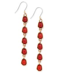 Lucky Brand | Gold-tone Red Stone Linear Earrings | Lyst