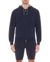 Brunello Cucinelli Blue Zip-up Jersey Hoody for men