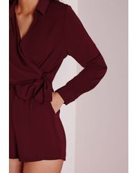 Missguided Purple Wrap Front Shirt Playsuit Burgundy