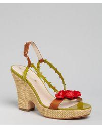 Celine   Green Leather Rosette Wedges   Lyst