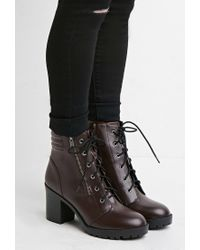 Forever 21 | Purple Faux Leather Combat Boots | Lyst