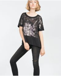 Zara | Black T-shirt With Slits T-shirt With Slits | Lyst