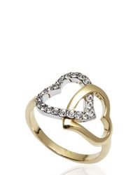 Swarovski | Metallic Double Heart Ring Size 8 | Lyst