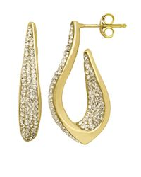 Lord & Taylor | Metallic Sterling Silver And Crystal Drop Earrings | Lyst