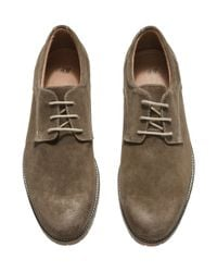 H&M Brown Suede Derby Shoes for men