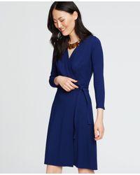 Ann Taylor | Blue 3/4 Sleeve Wrap Dress | Lyst