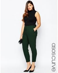 ASOS - Green Curve Cigarette Trouser In Crepe - Lyst