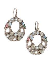 Bavna - Metallic Labradorite, Champagne Diamond, Multicolor Tourmaline & Sterling Silver Round Open Drop Earrings - Lyst