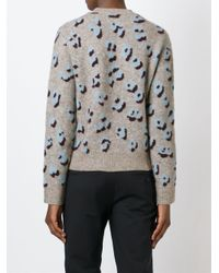 3.1 Phillip Lim Gray Leopard Print Sweater