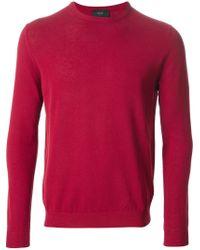 Zanone Red Classic Crew Neck Sweater for men