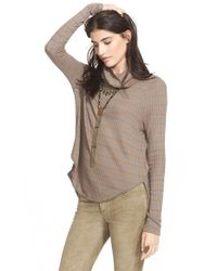 Free People | Brown Stripe Drippy Thermal Tee | Lyst