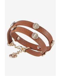 French Connection - Brown Double Wrap Screw-Headed Bracelet - Lyst
