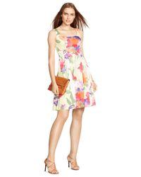 Lauren by Ralph Lauren - Multicolor Petite Sleeveless Floral-Print Dress - Lyst