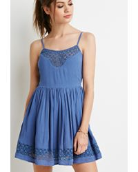 Forever 21 | Blue Floral Crochet-paneled Dress | Lyst