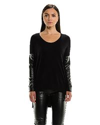 Sen Collection Black Sydney Sweater With Vegan Leather Sleeves