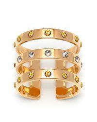 Maria Francesca Pepe | Metallic Triple Band Swarovski Crystal Ring | Lyst