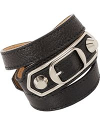 Balenciaga   Black Ligne Classic Leather Wrap Bracelet   Lyst