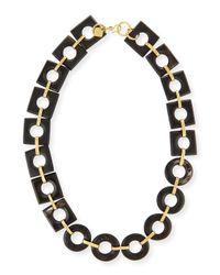 Ashley Pittman | Black Mbele Dark Horn Geometric Link Necklace | Lyst
