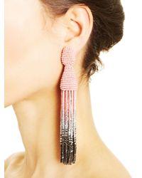 Oscar de la Renta - Soft Pink & Metallic Long Ombré Tassel Earrings - Lyst