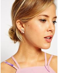 ASOS - Metallic Bow Faux Pearl Swing Earrings - Lyst