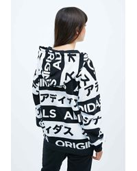 Adidas Typo Hoodie In Black And White