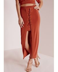 Missguided - Orange Lace Up Front Slinky Midi Skirt Rust - Lyst