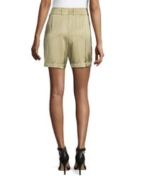 ESCADA - Green Pleated-Front Woven Shorts - Lyst