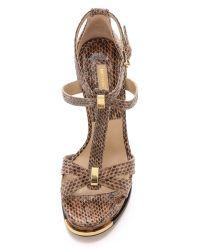Michael Kors Brown Leandra Snakeskin Sandals - Toffee