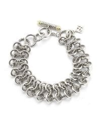David Yurman | Metallic Pre-Owned: Sterling Silver Chain Mail Cable Link Bracelet With 14K | Lyst