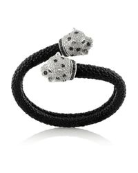 Kenneth Jay Lane - Black Silvertone Crystal and Coated Leather Bracelet - Lyst
