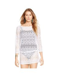 Polo Ralph Lauren | White Crocheted Tunic | Lyst