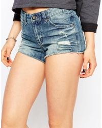 Pieces - Blue Denim Shorts - Lyst